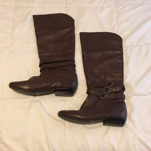 Dolce vita brown leather knee high boots